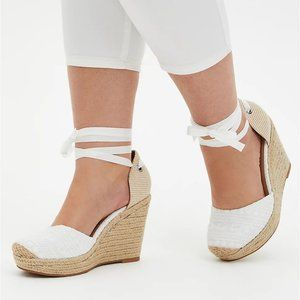 Torrid Embroidered Ankle Wrap Espadrille Wedge 7